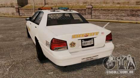 GTA V Police Vapid Cruiser Sheriff para GTA 4 traseira esquerda vista