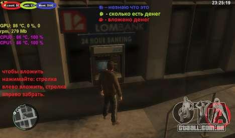 Conta em um caixa eletrônico para GTA 4 terceira tela
