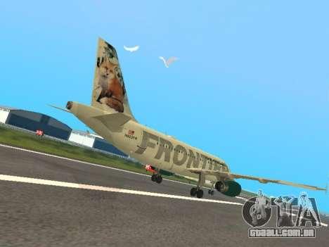 Airbus A319-111 Frontier Airlines Red Foxy para GTA San Andreas vista direita