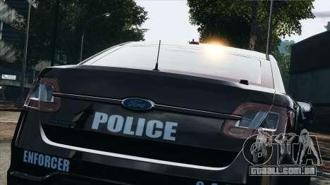 Ford Taurus Police Interceptor 2010 para GTA 4 vista de volta