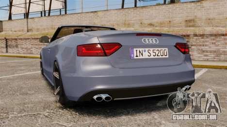 Audi S5 Convertible 2012 para GTA 4 traseira esquerda vista