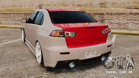 Mitsubishi Lancer Evolution X GSR 2008 para GTA 4 traseira esquerda vista