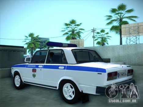 Lada 2107 Rendőrség para GTA San Andreas esquerda vista