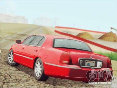 Lincoln Town Car 2010 para GTA San Andreas traseira esquerda vista