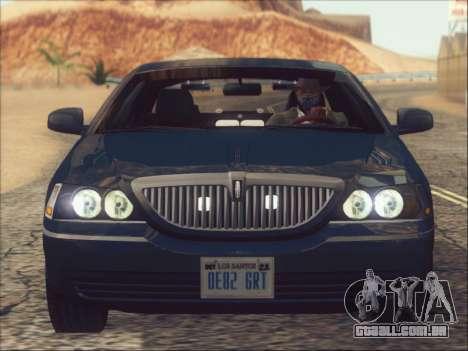 Lincoln Town Car 2010 para vista lateral GTA San Andreas