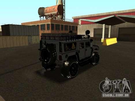 Hummer H1 Offroad para GTA San Andreas traseira esquerda vista