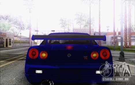 Nissan Skyline GT-R34 para vista lateral GTA San Andreas