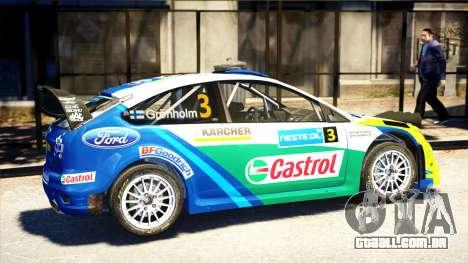 Ford Focus RS M Gronholm Rally Finland WRC para GTA 4 esquerda vista
