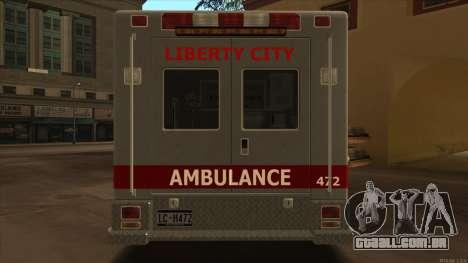 Ambulance HD from GTA 3 para GTA San Andreas vista direita