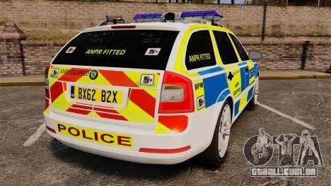 Skoda Octavia RS Metropolitan Police [ELS] para GTA 4 traseira esquerda vista