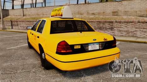 Ford Crown Victoria 1999 NY Old Taxi Design para GTA 4 traseira esquerda vista