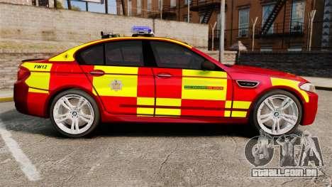 BMW M5 West Midlands Fire Service [ELS] para GTA 4 esquerda vista