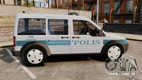 Ford Transit Connect Turkish Police [ELS] para GTA 4 esquerda vista