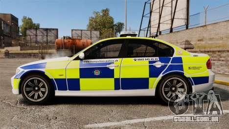 BMW 330i Hampshire Police [ELS] para GTA 4 esquerda vista