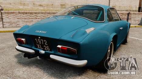 Renault Alpine A110 1600 S para GTA 4 traseira esquerda vista
