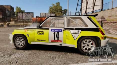 Renault 5 Turbo Maxi para GTA 4 esquerda vista