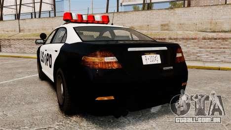 GTA V Vapid Police Interceptor LSPD para GTA 4 traseira esquerda vista