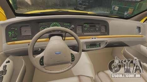 Ford Crown Victoria 1999 GTA V Taxi para GTA 4 vista de volta