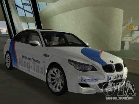 BMW M5 (E60) 2009 Nurburgring Ring Taxi para GTA Vice City vista traseira esquerda