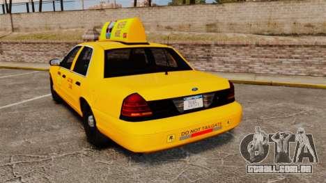 Ford Crown Victoria 1999 LCC Taxi para GTA 4 traseira esquerda vista