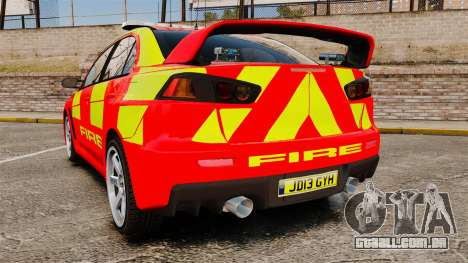 Mitsubishi Lancer Evo X Fire Department [ELS] para GTA 4 traseira esquerda vista