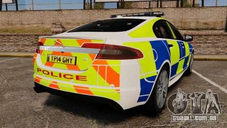 Jaguar XFR 2010 British Police [ELS] para GTA 4 traseira esquerda vista