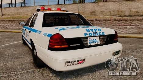 Ford Crown Victoria 1999 NYPD para GTA 4 traseira esquerda vista
