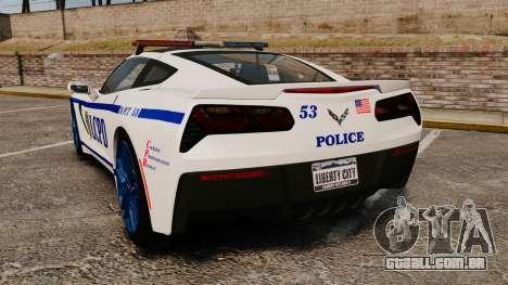Chevrolet Corvette C7 Stingray 2014 Police para GTA 4 traseira esquerda vista