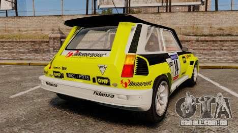 Renault 5 Turbo Maxi para GTA 4 traseira esquerda vista