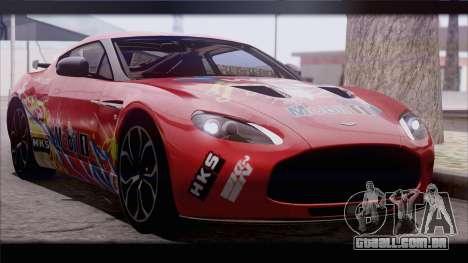 Aston Martin V12 Zagato 2012 [IVF] para GTA San Andreas traseira esquerda vista