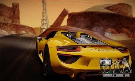 Porsche 918 Spyder 2014 para GTA San Andreas interior