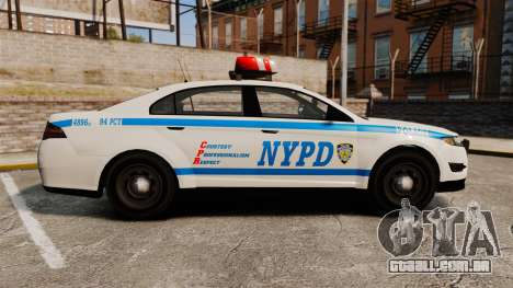 GTA V Police Vapid Interceptor NYPD para GTA 4 esquerda vista