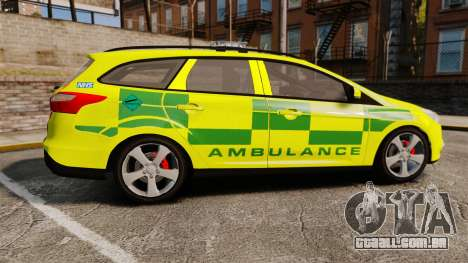 Ford Focus ST Estate 2012 [ELS] London Ambulance para GTA 4 esquerda vista