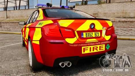 BMW M5 West Midlands Fire Service [ELS] para GTA 4 traseira esquerda vista