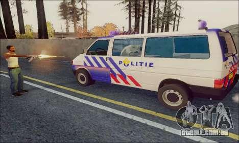 Volkswagen T4 Politie para GTA San Andreas traseira esquerda vista
