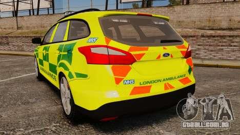 Ford Focus ST Estate 2012 [ELS] London Ambulance para GTA 4 traseira esquerda vista