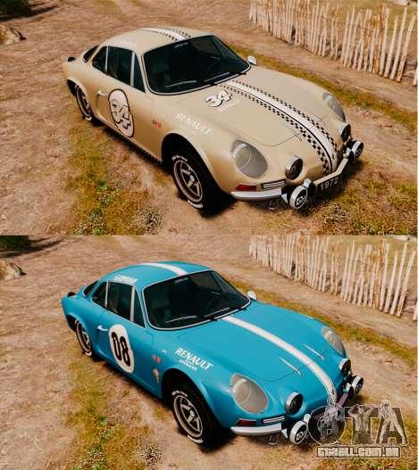 Renault Alpine A110 1600 S para GTA 4 vista inferior