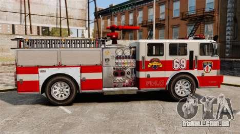Caminhão de bombeiros para GTA 4 esquerda vista