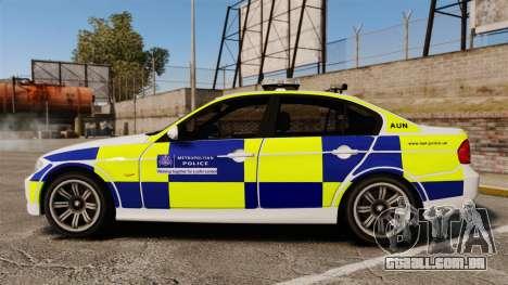 BMW 330i Metropolitan Police [ELS] para GTA 4 esquerda vista
