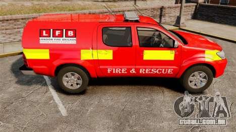 Toyota Hilux London Fire Brigade [ELS] para GTA 4 esquerda vista