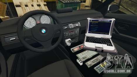 BMW 330 Metropolitan Police [ELS] para GTA 4 vista de volta