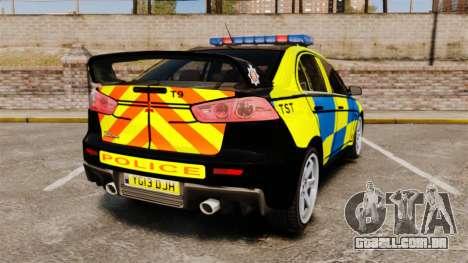 Mitsubishi Lancer Evolution X Uk Police [ELS] para GTA 4 traseira esquerda vista
