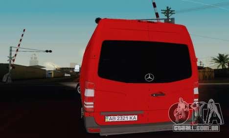 Mersedes-Benz Sprinter para GTA San Andreas traseira esquerda vista