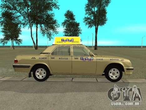 Táxi de 31105 Volga GAZ para GTA San Andreas traseira esquerda vista