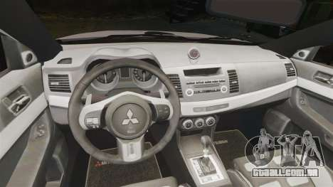 Mitsubishi Lancer Evolution X Police [ELS] para GTA 4 vista interior