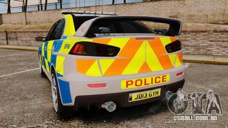 Mitsubishi Lancer Evolution X Police [ELS] para GTA 4 traseira esquerda vista
