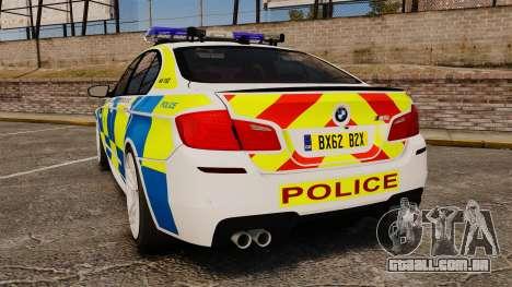 BMW M5 Marked Police [ELS] para GTA 4 traseira esquerda vista