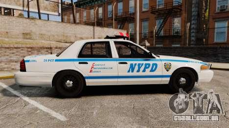 Ford Crown Victoria 1999 NYPD para GTA 4 esquerda vista