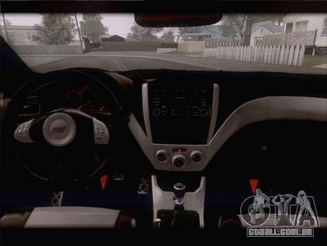 Subaru Impreza WRX STi para GTA San Andreas vista interior