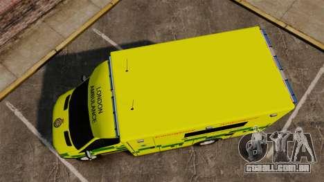 Mercedes-Benz Sprinter [ELS] London Ambulance para GTA 4 vista direita